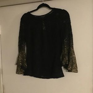 Black Lace Gold Dipped Sleeves Top Sz M